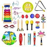 Pachock Strumenti Musicali per Bambini, 23pcs Giocattolo in Legno, Set di Percussioni per ...