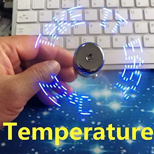 WYSTLDR Regalo Creativo de la exhibición de la Temperatura del Ventilador USB, con exhibición de la Temperatura del Gadget Fresco de la luz del LED