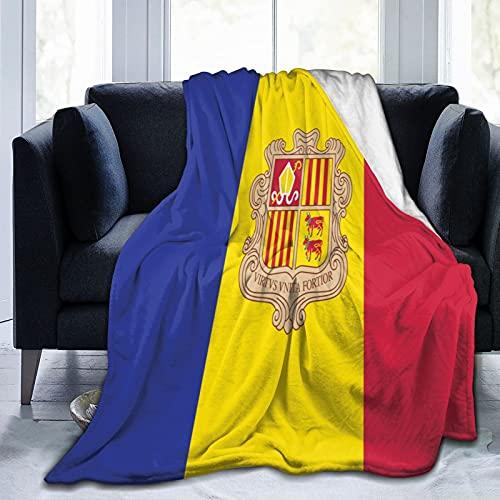 Flanelldecke mit Flagge von Andorra, flauschig, bequem, warm, leicht, weich