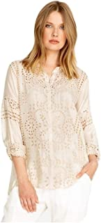 Johnny Was Women's Bonnie Silk Eyelet Long Sleeve Blouse in Sand Size Large