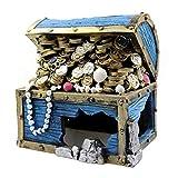 Generic Caja del Tesoro Acuático con Monedas Decoración del Terrario del Acuario