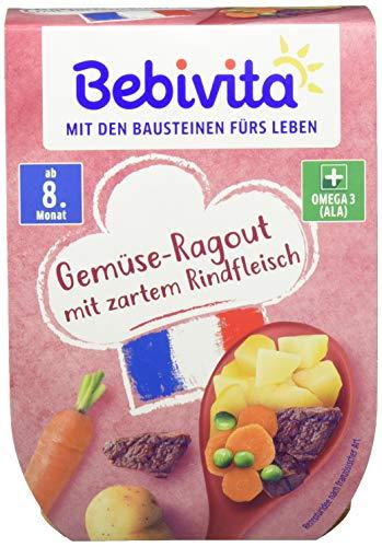 Bebivita Menüs im Becher ab 8.Monat Gemüse-Ragout mit zartem Rindfleisch, 4er Pack (4 x 440 g)