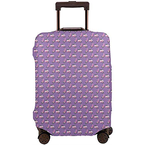 Travel Luggage Cover Vintage Deep Deck Girlie Scooters On A Purple Shaded Suitcase Protector Size L