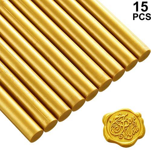 11mm 15 Stücke Klebe Pistole Siegellack Wachs Sticks für Retro Vintage Wachs Siegel Stempel und Brief, Ideal für Hochzeit Einladungen, Karten Umschläge, Schneckenpost, Geschenk Verpackung (Gold)