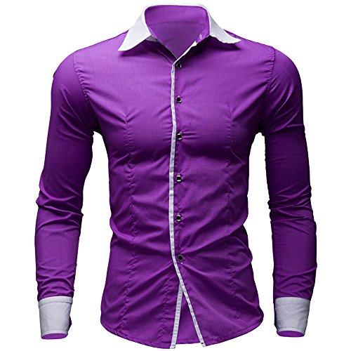 Aoogo Herren Casual Elegant Männer Geschäft Volltonfarbe England Herrenhemd Pure Color Langarmhemd Business Slim Bluse