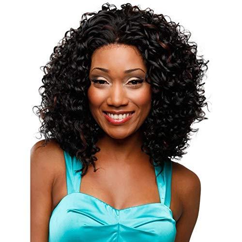 Perruque européenne et américaine avec dames noire, virole courte pour cheveux bouclés, noir
