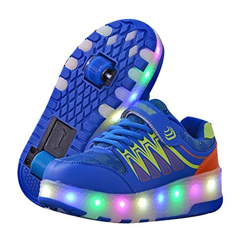 GEXIN USB Wiederaufladbar Unisex Kinder Rollschuhe, Skateboardschuhe mit Rollen Drucktaste Einstellbare (Blau/Pink)