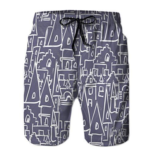 Shorts de baño para Hombre Bañador de Playa Shorts de Playa de Verano Castillo Real con Torres patrón sin Costuras