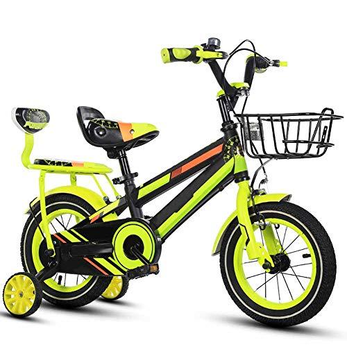 FDSAG Kinderfahrrad Fahrradhöhenverstellbar, Geeignet for Jungen Und Mädchen 3-10 Jahre Alt Fahrrad Mountainbike Mit Stützrädern Kleine Minifahrrad Geschenk, Gelb,14 inch
