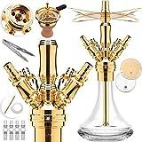 DILAW® Smart Shisha Edelstahl V2A Komplettset 38cm Hookah | Mini | to go + Glas Kohleteller | 4 Anschlüsse Adapter | Wasserpfeife | Base Closed Chamber | Kaminkopf Silikonschlauch Tabakkopf Gold