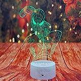 Veilleuse LED illusion 3D pour enfants, 16 couleurs changeantes tactiles et télécommande Spiderman Cadeau de Noël pour garçons et filles
