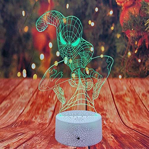 Luz nocturna 3D LED de ilusión óptica lámpara Spiderman para niños regalos de vacaciones regalo de Navidad cumpleaños regalo de juego ventilador