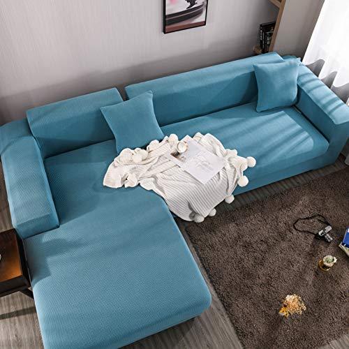 Modelo Diseñada Protector De Muebles 1 2 3 4 Plazas Funda Sofa Ajustables,Elasticidad Funda Sofa Ajustables En Forma De L,Anti-resbalón Suave Perro La Funda Para Sofa Protector-Azul 235-300cm(93-118')
