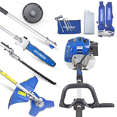 Hyundai Functional 5 in 1 Petrol Multi-Tool Set, HYMT5200X, 52CC, Grass, Hedge Trimmer, Pruner Chainsaw, Brushcutter, Extension Pole, Multitool Complete Gardening System, 3 Year Warranty, Blue