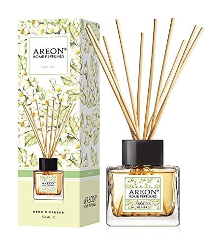 AREON Difusor Ambientador Varillas 50 ml, Aroma Jasmine - ambientador Coche Nuevo hogar casa ambientadores Olor baño humificador...