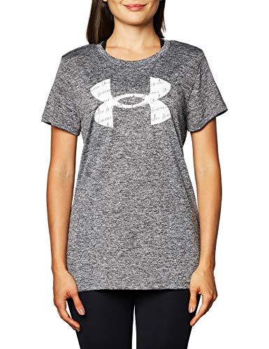 Under Armour Women's Tech Twist Big Logo Short-Sleeve Crew Neck T-Shirt , Charcoal Medium Heather (019)/White , XX-Large