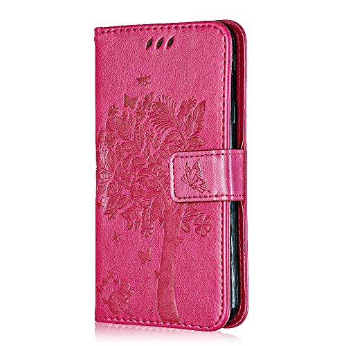 Conber Hülle für Samsung Galaxy A8S, PU Leder Tasche Flip Hülle Lederhülle Handyhülle, Vintage Katze & Baum Schutzhülle für Samsung Galaxy A8S - Rosa