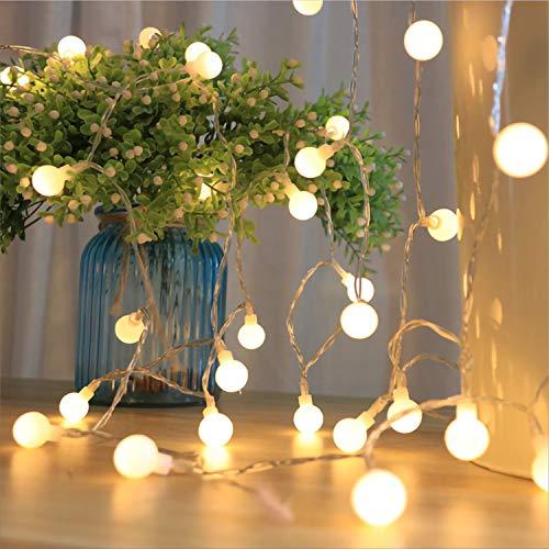 LED-Lichterkette, wasserdicht, tragbar, 5,5 m, 50 Stück, Globus-Lichterkette mit Fernbedienung, für Hochzeiten, Partys, Zuhause, Weihnachtsdekoration (warmweiß)