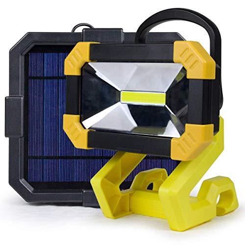 Focos de inundación de trabajo LED recargables con panel solar, base magnética de lámpara de trabajo portátil, 3 modos debrillo, puerto USB, 4000 mAh, lámpara solar impermeable para exteriores IP65 p