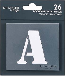 Dreager by Toga - 26 Pochoirs Lettre - Les 26 Lettres de L'Alphabet en Majuscule - Pochoirs Multiusages - Pour Tracer, Col...