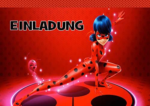 TV-24 Miraculous Ladybug Einladungskarten 12er Set inkl. 12 Umschläge E4