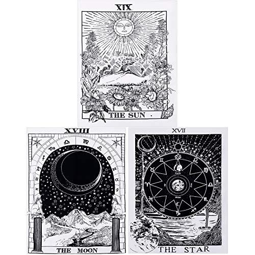 3 Pezzi Arazzo dei Tarocchi il Sole la Luna la Stella Arazzo di Carta dei Tarocchi Arazzo di Divinazione dell'Europa Medievale Misterioso Arazzo da Parete per Decor Casa (29,1 x 38,2 Pollici)