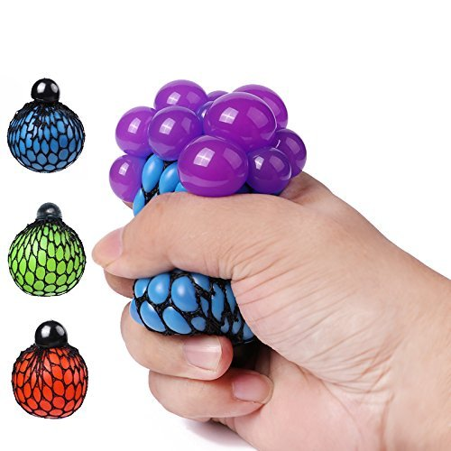 Yumir Stress Relief Squeezing Soft Rubber Vent Grape Ball Hand Wrist Toy Funny Geek Gadget Vent Toy, Orange/Blue/Green, 3 Piece