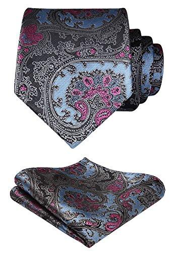HISDERN Herren Krawatte Blumen Paisley Hochzeit Krawatte & Einstecktuch Set Blau & Pink & Grau