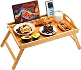 Bamboo Bed Tray Table, Large Breakfast Tray - 21.7x14 Inch with Folding Legs, Multipurpose Serving Tray Use As Portable Laptop Tray, Snack Tray, Platter Tray for Working, Eating, Reading by Pipishell