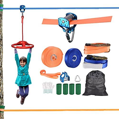 TTLIFE Ninja Warrior Trainingsgeräte Für Kinder,2 X 50-zoll-entspannungsset Ninja-krieger-training, Riemenscheiben, Lenkrad, Gleichgewichtstraining, Maximales Gewicht 440 Pfund