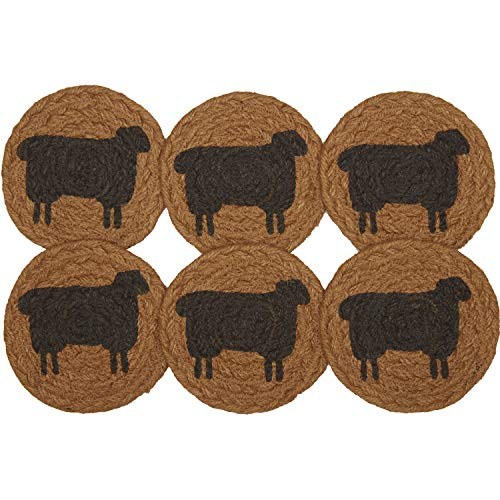 VHC Brands Heritage Farms Sheep Jute Coaster Set of 6 Primitive Country Patchwork Kitchen Tabletop Design  Tan