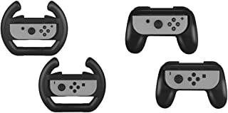 YUIOG 最新改良版 Joy-Conハンドル 4個セット Nintendo Switch対応 ニンテンドースイッチ Joy-Conハンドル マリオカート8 デラックス専用 レースゲームに最適 任天堂スィッチ周辺機器 素早く反応 寸法最適 人間工学 着脱簡単 操作最高 装着簡単 耐衝撃ハンドル カバー (ジョイコンハンドル2種類 ブラック 4個セット)