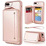 iPhone 8 Plus Wallet Case, iPhone 7 Plus Zipper Wallet Case, LAMEEKU Card Holder Leather Case with Card Slot Wrist Strap, Shockproof Protective Cover for iPhone 7 Plus/8 Plus 5.5''-Rose Gold