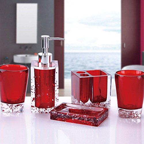 Badezimmerset aus Harz, mit Zahnbürstenhalter, Seifenschale, Zahnputzbecher und Seifenspender, 5-teilig rot