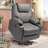 Haverchair Electric Power Lift Recliner PU Leather Chair for Elderly Wireless Remote Control Massage and Heat Sofa with USB Charge Port, Side Pockets and Cup Holders(Grey)
