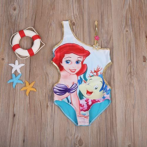 Traje de baño floral de una sola pieza para niña con dibujos animados de sirena con un solo hombro traje de baño para niños, ropa de playa para niños (tallas de 5 a 6 años)
