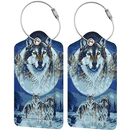Moon Wolf - Juego de etiquetas de equipaje de cuero personalizado para maletas, accesorios de viaje