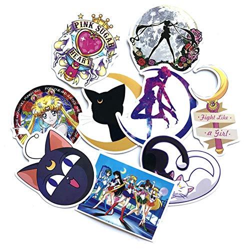 Cluis Juego de 50 pegatinas de PVC Sailor Moon, pegatinas de parachoques de anime para ordenador portátil, equipaje, coche, monopatín, maleta y más (estilo 01-9 piezas)