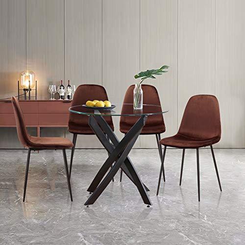 GOLDFAN Esstisch mit 4 Stühlen, moderner Esstisch aus Glas mit Chrombeinen und PU-Stühlen für Wohnzimmer und Büro (schwarz)