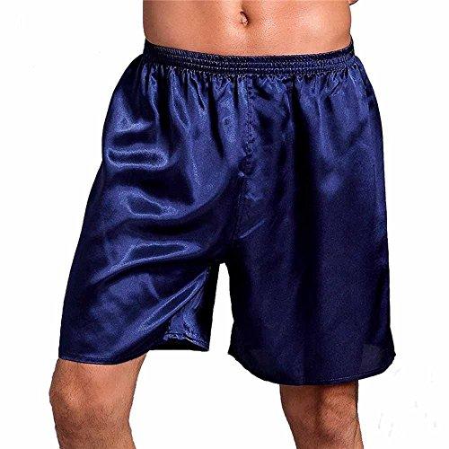 Elwow Männer Pure Color Classic Silk Satin Unterwäsche Nachtwäsche Pyjamas Bottom Boxershorts (Dunkel Blau, L)