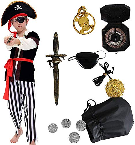 Tacobear Costume Pirate Enfants Déguisement Pirate Garçon Accessoires Pirate Cache-Oeil Dague Compass Bourse Boucle d'oreille Or Medasie Halloween Pirate Costume Enfant (M 6-8 Ans)