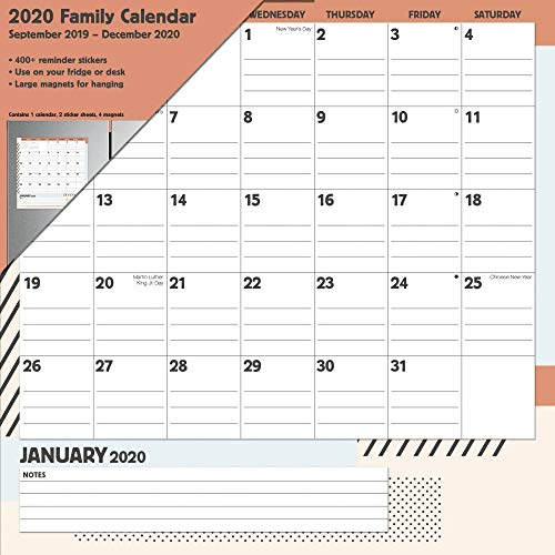 Family 2020 Calendar: 400+ Reminder Stickers, Large Magnets for Hanging