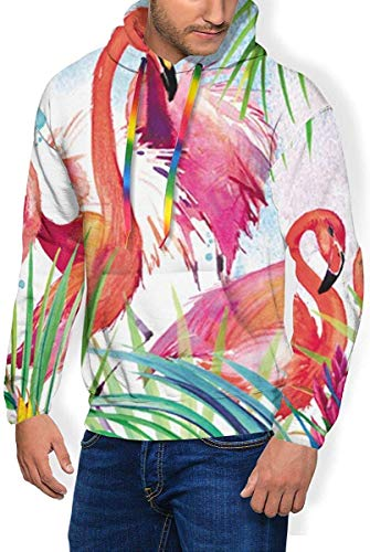 HYJDZKJY Aquarel Flamingo Boys & Mens Drawstring Hoodie evenals dikke sweatshirts slim top blouse