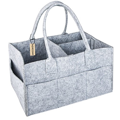 INDRESSME Large Baby Diaper Caddy Nursery Storage Bins Baby Toys Containers Diaper Holder Easy to Carry Car Organizer for Baby Wipe or Diapers, Light Gray