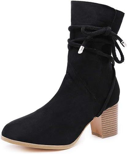 YAN Bottines pour Femmes, Les Les dames de Mode New Chunky Block Heel Grip Sole Bottines Bottes Chaussures de fête (Couleur   Noir, Taille   36)