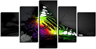 Lijome Canvas Art Wall Mural Poster Living Room Decor 5 Piece Beautiful Colorful Butterfly In The Dark Painting