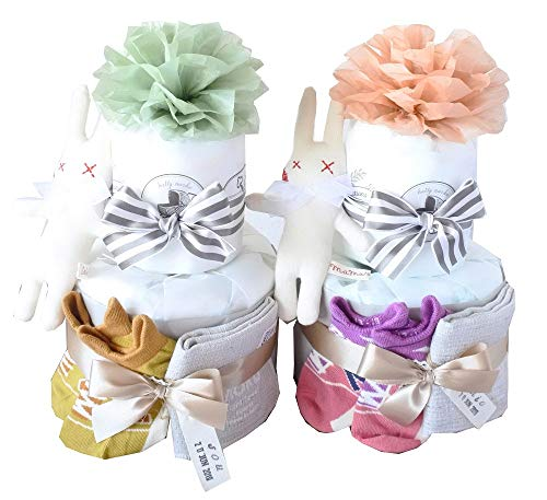 newbalance 出産祝い おむつケーキ オーガニック 2段 ソックス 靴下 男の子 女の子 (PK, パンパース新生児テープ)
