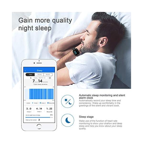 Smart Pulsera Fitness Tracker- Reloj Inteligente para Hombres Mujeres Bluetooth Rastreador de Actividad con Monitor de… 5