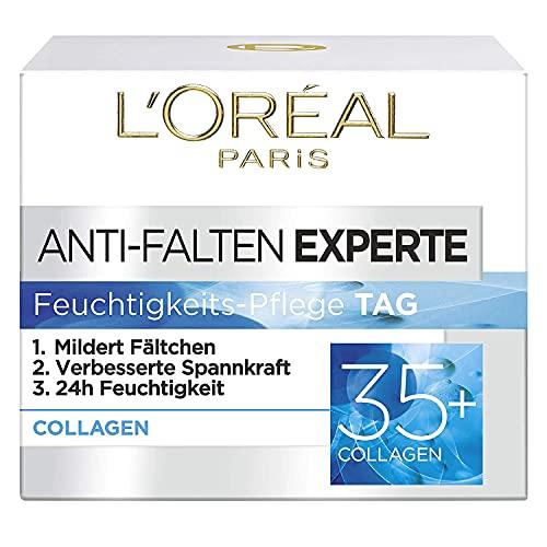 L\'Oréal Paris Feuchtigkeitspflege für das Gesicht, Pflegende Anti-Aging Creme mit Kollagen Biosphären, Mildert Fältchen und spendet 24H Feuchtigkeit, Anti-Falten Experte 35+, 1 x 50ml