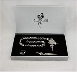 Fantasy VIII 4 Items Set Squall Griever Necklace Ring Earrings Keychain | FF8 Cosplay Dissidia Cloud XV